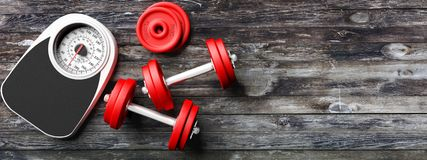 Bathroom scale, dumbbells on an old wooden floor background. Copyspace for text. 3d illustration. Bathroom scale, dumbbells on the left side of a wooden floor Stock Photography