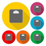 Bathroom scale icons set with long shadow Stock Photo