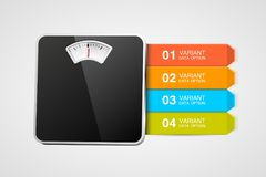 Bathroom scale with infographics or steps. Steps to healthy life. Vector illustration Stock Photography