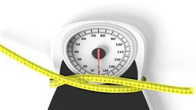 Bathroom scale with measuring tape squeezing it. On white background Stock Photography