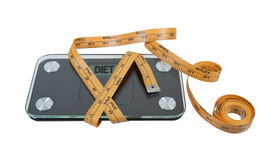 Bathroom Scale with Measuring Tape Royalty Free Stock Image