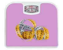 Bathroom scale with a measuring tape Royalty Free Stock Image