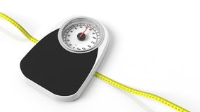 Bathroom scale with measuring tape. On white background Royalty Free Stock Photo