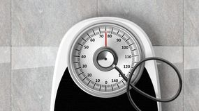 Bathroom scale with stethoscope Stock Photography