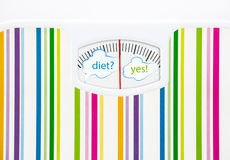 Bathroom scale with text bubbles on dial Royalty Free Stock Photo