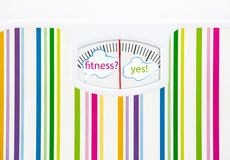 Bathroom scale with text bubbles on dial Royalty Free Stock Image