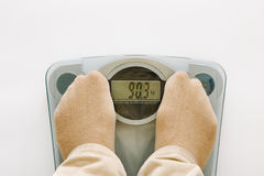 Bathroom scales with feet Stock Photography