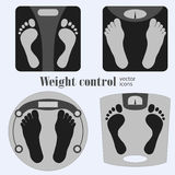 Bathroom scales and footprint Stock Photo