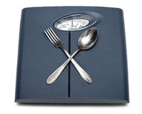 Bathroom scales, fork and spoon isolated Royalty Free Stock Images