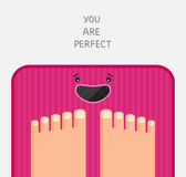 Bathroom scales are happy Stock Images