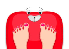 Bathroom scales are happy Royalty Free Stock Photo