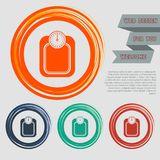 Bathroom scales weighing calorie kilos kilogram icon on the red, blue, green, orange buttons for your website and design with spac. E text. illustration Royalty Free Stock Photography