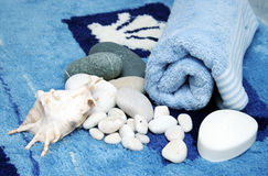 Bathroom scene with sea stones Stock Photography