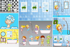 Bathroom scenes with kids doing different activities Stock Image