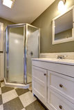 Bathroom with screened shower. White bathroom vanity cabinet with mirror Royalty Free Stock Photo