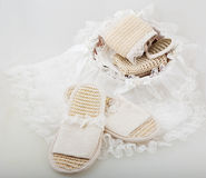 Bathroom set made of loofah Royalty Free Stock Images