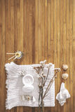 Bathroom set on a wood background. Royalty Free Stock Photos