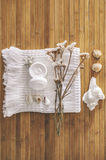 Bathroom set on a wood background. Royalty Free Stock Photography
