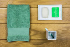 Bathroom set on wooden background Royalty Free Stock Photography