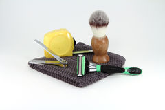 Construction Worker Shaving Supplies. Bathroom and shaving supplies for use by a real man's man royalty free stock images