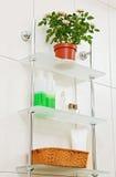 Bathroom shelf with decor Stock Photography