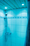 Bathroom shower. Luxury bathroom shower in blue colors Royalty Free Stock Image