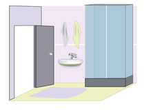 Bathroom with a shower. Color bathroom with a shower, home, relax stock illustration