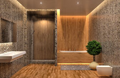 Bathroom with shower and bath. 3d illustration Royalty Free Stock Photos