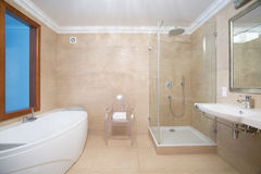 Bathroom with shower and bathtub stock photography