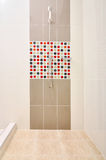 Bathroom Shower with designed tiles Stock Images