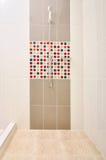 Bathroom Shower with designed tiles. Bathroom Shower with color designed tiles stock images