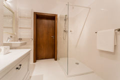 Bathroom with shower. Exclusive bathroom with modern shower stock photos