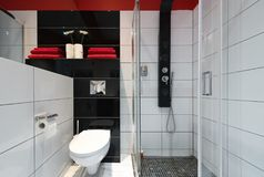 Bathroom with shower, modern interior Stock Photography