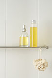 Bathroom with showering products. White bathroom with showering products Stock Photography
