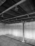 Bathroom with showers in concentration camp Royalty Free Stock Images