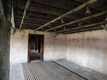 Bathroom with showers in concentration camp Stock Images