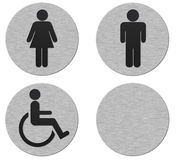 Bathroom signs. Collection of brushed metal bathroom signs isolated on white (path included Royalty Free Stock Photography