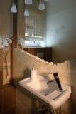 Bathroom sink. Bathroom sink in a luxury bathroom. Vertical orientation stock image