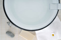 Bathroom sink bowl and soap Stock Images