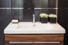 Bathroom Sink. Clean contemporary bathroom sink image royalty free stock photos