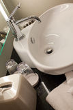 Bathroom sink and counter in hotel Royalty Free Stock Photo