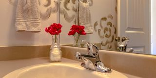 Bathroom with sink and faucet infront of a mirror. Sink and faucet infront of a mirror with red flowers on a bottle inside a bathroom. A towel hangs on the stock photos