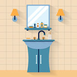 Bathroom sink with mirror Royalty Free Stock Images