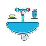 Bathroom sink with soap and toothbrushes, line style vector illustration, personal hygiene.  Stock Photography