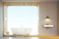 Bathroom with sink and wood, front view, toned Stock Photo