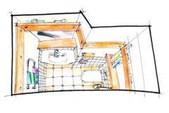 Bathroom sketch top view Stock Photos
