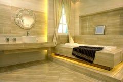 Bathroom space. Bathroom deco by warm color brick Royalty Free Stock Photography