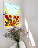 Bathroom stain glass window. Stock Photo