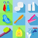 Bathroom stuffs icons set, flat style. Bathroom stuffs icons set. Flat set of 9 bathroom stuffs vector icons for web with long shadow Royalty Free Stock Photos