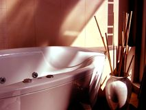 Bathroom in sunset. Detail of modern bathroom in sunset Royalty Free Stock Photos